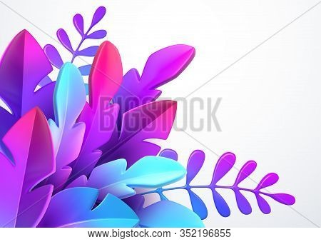 Bright Stylish 3d Foliage In The Style Of Webdesign Neomorphism. Template For Advertising Banner, Fl