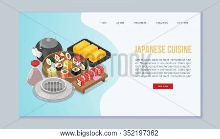 Sushi, Japanese Food Vector Website Illustration. Sushi Rolls Food And Japanese Seafood With Tea. As