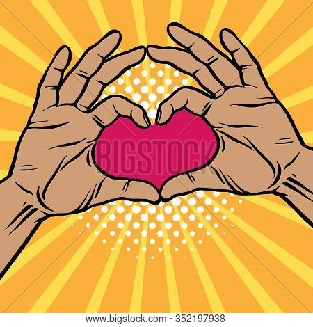 Pop Art Two Hands Making Heart Sign Cartoon Comic Vector Illustration. Love, Romantic Relationship C