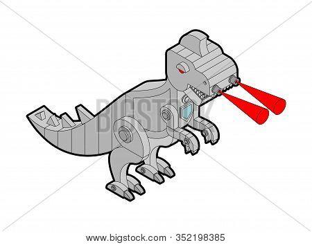 Robot Dinosaur Metal. Iron Monster Prehistoric. Mechanical T-rex Animal Predator