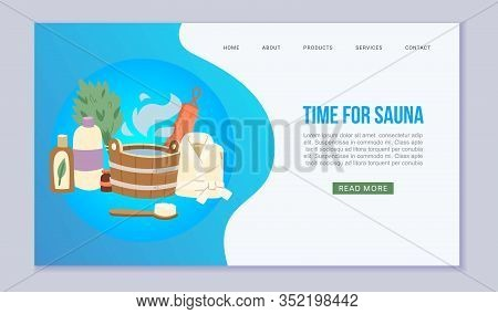 Time For Sauna Web Template Vector Illustration. Sauna And Bath Accessories Website. Buckets, Brooms