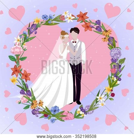 Wedding Couple Heart Card With Newly Married Weds Bride And Bridegroom Love Hearts Background Cartoo