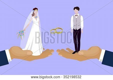 Wedding Couple Newly Married Weds Bride And Bridegroom Standing On Huge Human Hands Cartoon Vector I