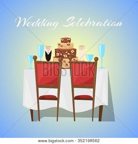 Wedding Celebration In Restaurant Banner With Ceremony And Gala Reception Vector Illustration. Weddi