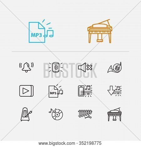 Melody Icons Set. Music On Phone And Melody Icons With Music Record, Grand Piano, Metronome. Set Of