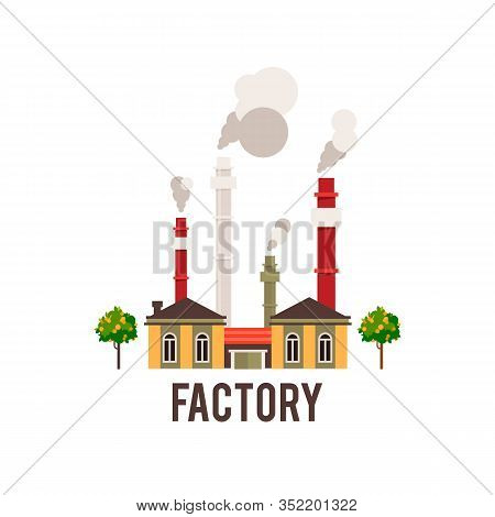 Industrial Factory In Flat Style A Vector An Illustration.plant Or Factory Building.road Tree Window