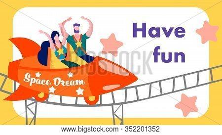 Having Fun Rollercoaster Advertising Lettering Flat Banner Frame Vector Style Cartoon Illustration W