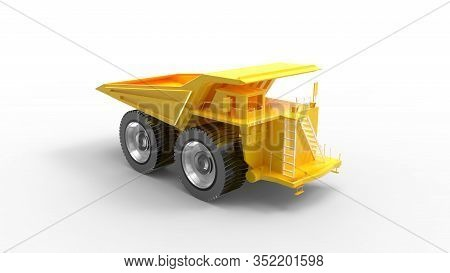 3d Rendering Of A Haul Truck Yellow Isolated In Grey Empty Space