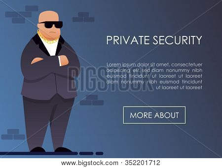 Landing Page Offering Private Security Service. Cartoon Male Guard In Formal Black Suit, Sunglasses