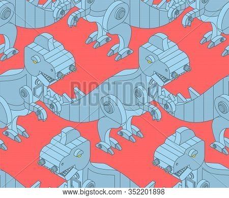 Robot Dinosaur Pattern Seamless. Iron Monster Prehistoric Background. Mechanical T-rex Animal Predat