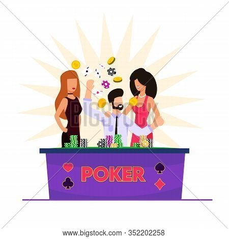 Vector Illustration Man Playing Cards In Casino. Bearded Man Laughs And Rejoices When He Sits At Pok