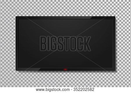 Realistic Tv Screen Template With Empty Black Display. Lcd Or Led Tv Panel, 4k Television Screen On