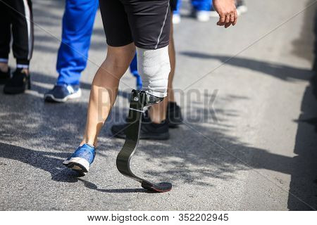 Details With A Prosthetic Leg On An Army Veteran During A Running Race