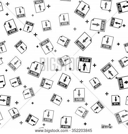 Black Mp4 File Document Icon. Download Mp4 Button Icon Isolated Seamless Pattern On White Background