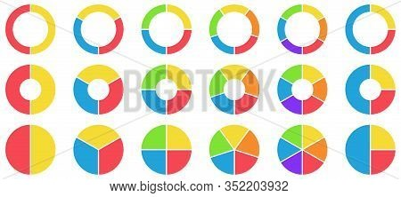 Colorful Pie And Donut Charts. Circle Chart, Circle Sections And Round Donuts Chart Pieces. Business