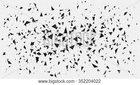 Abstract Shatter Particles. Random Flying Dark Triangles Particles, Shattered Texture And Broken Pie