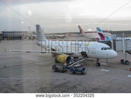 Vienna Schwechat, Austria - Circa November 2019: Vueling Airbus A319 During Boarding