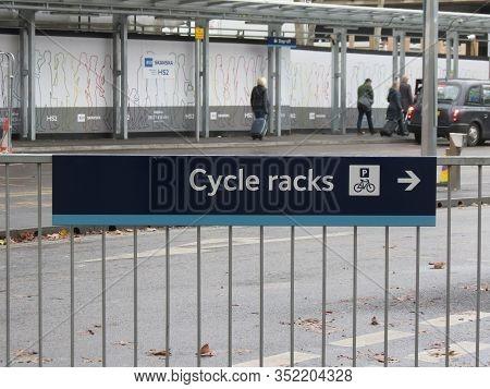 London, Uk - Circa November 2019: Cycle Racks (aka Bike Racks) Sign For Bikeways Cycleways Traffic S