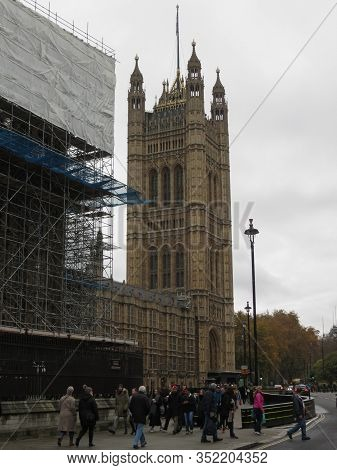 London, Uk - Circa November 2019: Conservation Works At The Houses Of Parliament Aka Westminster Pal