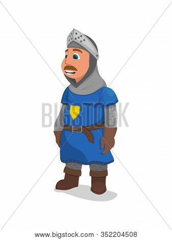 King Arthur In Knight Armor With Royal Crown Emblem On Chest Isolated On White Background. Medieval