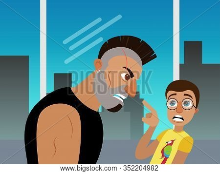 Movie Scene Scared Nerd Guy In Glasses And Funny T-shirt Speaking With Angry Bearded Punk Male Chara