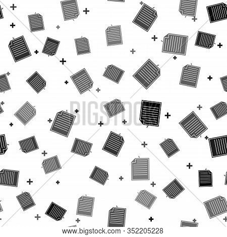 Black Note Paper With Pinned Pushbutton Icon Isolated Seamless Pattern On White Background. Memo Pap
