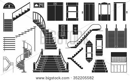 Staircase And Lift Vector Black Set Icon.vector Illustration Stair And Escalator.isolated Black Icon