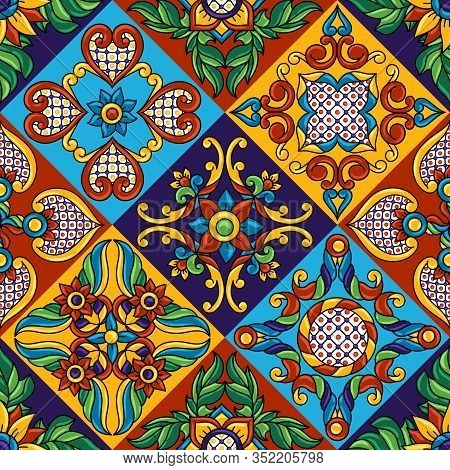 Mexican Talavera Ceramic Tile Seamless Pattern. Decoration With Ornamental Flowers. Traditional Deco