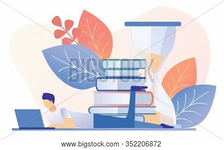Cartoon Man Lay With Notebook, Book Stack Sandglass Timer Vector Illustration. Learning Time Hourgla