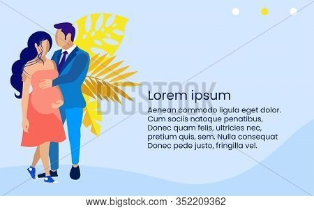Man And Pregnant Woman In Red Dress On Blue Background. Insurance Policy. Vector Illustration. Relia