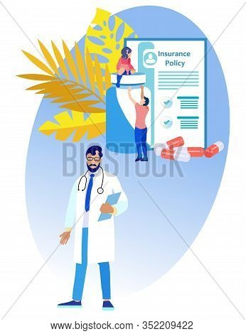 Doctor With Beard And Glasses On Background Medical Insurance Policy. Insurance Policy. Vector Illus