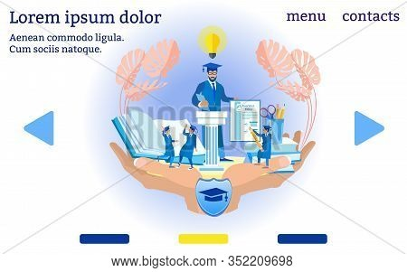 Insurance Agent Protects Diploma. Website Menu. Insurance Policy. Vector Illustration. Reliable Prot