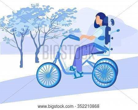 Disabled Paralyzed Woman Character With Incapability Cycling In Park. Special Bicycle For Handicappe