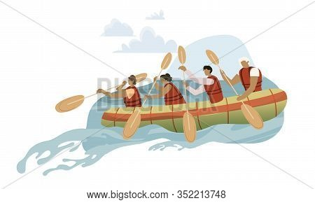 Team In Rowing Boat Cartoon Vector Illustration. Rafting Sports Competition In Wild River. People Gr