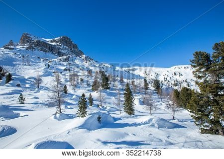 Cinque Torri Dolomities Winter Mountains