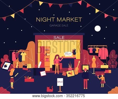 People Buying And Selling Old Things On Night Fair Garage Or Yard Sale. Street Bazaar Invitation Pos