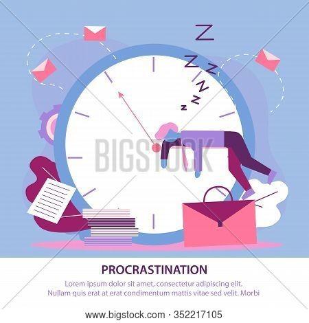 Flat Illustration Big Problem Procrastination. Man In Suit Sleeps Clockwise Arrow Against Background