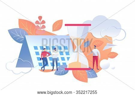 Time Management Work Day End Rule Flat Vector. Illustration Men Stand Background Calendar And Hourgl