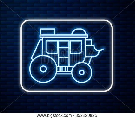 Glowing Neon Line Western Stagecoach Icon Isolated On Brick Wall Background. Vector Illustration