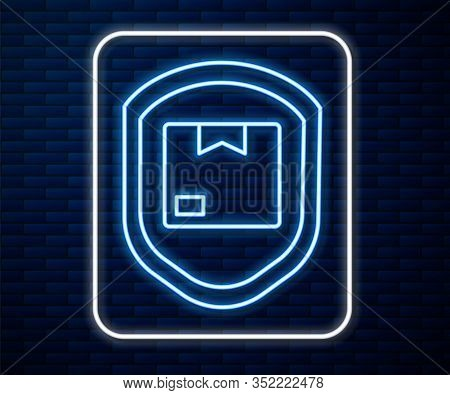 Glowing Neon Line Delivery Pack Security With Shield Icon Isolated On Brick Wall Background. Deliver