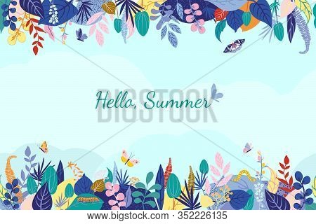 Colorful Floral Composition On Blue Background, Text Hello, Summer. Horizontal Stripe Seamless Patte