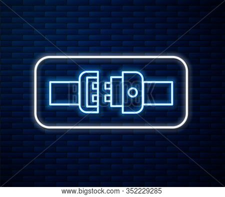 Glowing Neon Line Safety Belt Icon Isolated On Brick Wall Background. Seat Belt. Vector Illustration