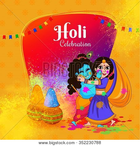Holi Celebration With Lord Of Love Lord Krishna And Radha. Indian Festival Of Colors.