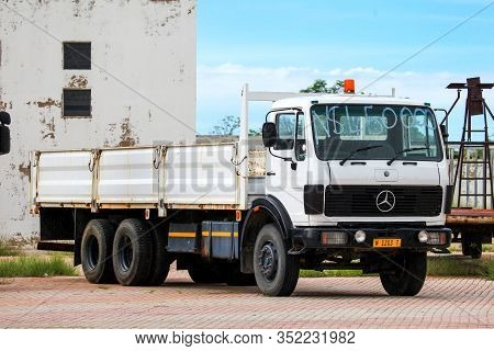 Tsumeb, Namibia - February 7, 2020: Old Flatbed Truck Mercedes-benz Ng In The Town Street.