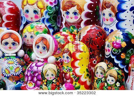 Many Traditional Russian Matryoshka Dolls