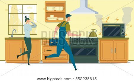 Repair Home Technics Service. Man Electrician Holding Screwdriver For Fixing Broken Microwave Oven F