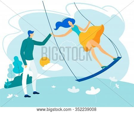 Bright Poster Man With Woman Riding Swing Flat. Beginning Relationship Is Strong Attraction. Happy H