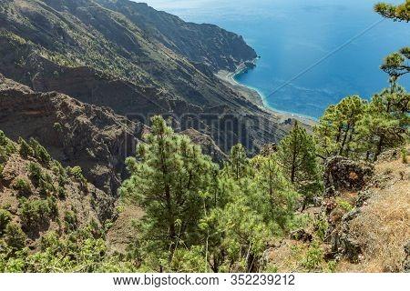 Mirador De Las Playas Located In Pine Tree Forest On El Hierro Island. Spectacular Views From The Po