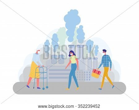 Factory Air Pollution Affects Citizens Lives. Large Factory Pipes Clog Citys Air And Harm Its Inhabi