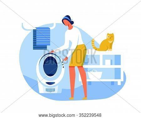 Home Automatization Cartoon Flat Vector Illustration. Bathroom Interior. Woman Choosing Comfortable